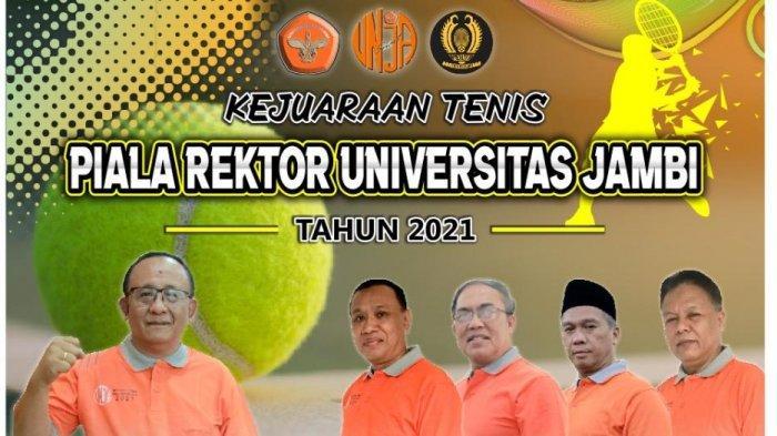 Rektor universitas jambi Prof.H.Sutrisno,Ph.D membuka kejuaraan tenis piala rektor UNJA, di lapangan tenis universitas jambi kampus Telanaipura, Kamis (11/3/2021).
