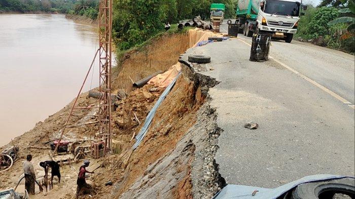 Turap di Jalan Lintas Jambi-Sarolangun Longsor, Begini Kondisinya