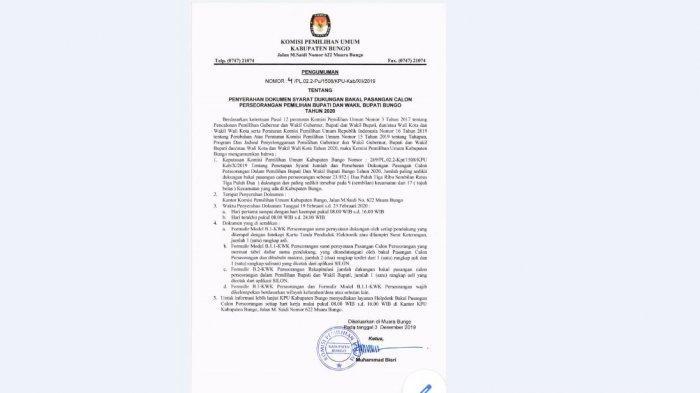 KPU Bungo Umumkan Syarat Dukungan Bakal Paslon Perorangan di Pilkada Bungo 2020