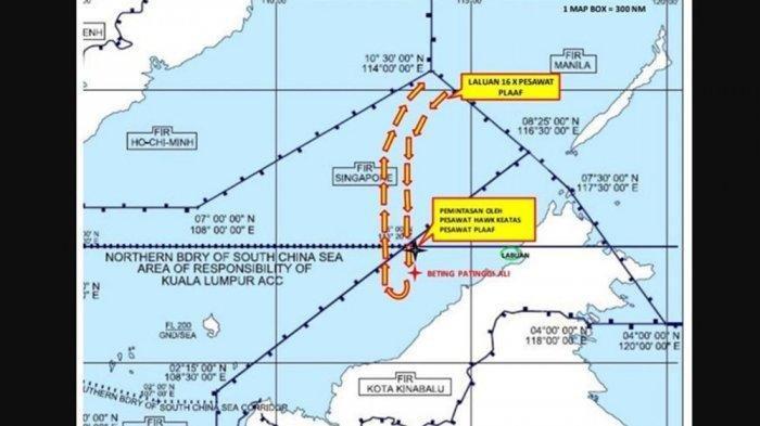 Lokasi ruang udara Malaysia yang dimasuki belasan pesawat China.