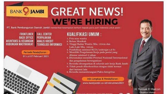 Lowongan Kerja Jambi 6 Februari 2021, Pendaftaran Bank Jambi hingga Besok 7 Februari 2021