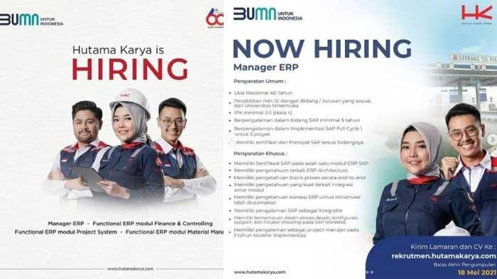 Lowongan Kerja BUMN Hutama Karya, Terakhir 21 September 2021