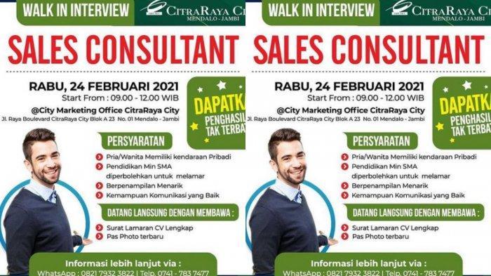 Lowongan Kerja CitraRaya City Jambi Menerima Tamatan SMA, Walk in Interview 24 Februari 2021