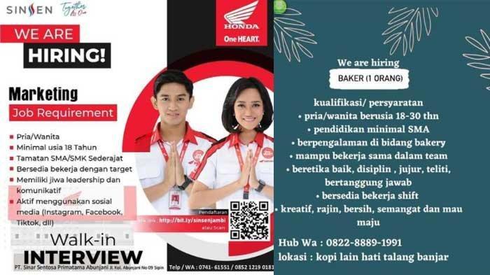 Lowongan Kerja Jambi 24 Juni 2021: Tersedia di Sinar Sentosa, ID Express dan Kopi Lain Hati