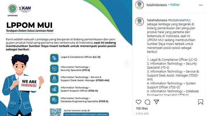 Lowongan Kerja Terbaru LPPOM MUI Tersedia 5 Posisi untuk Lulusan S1
