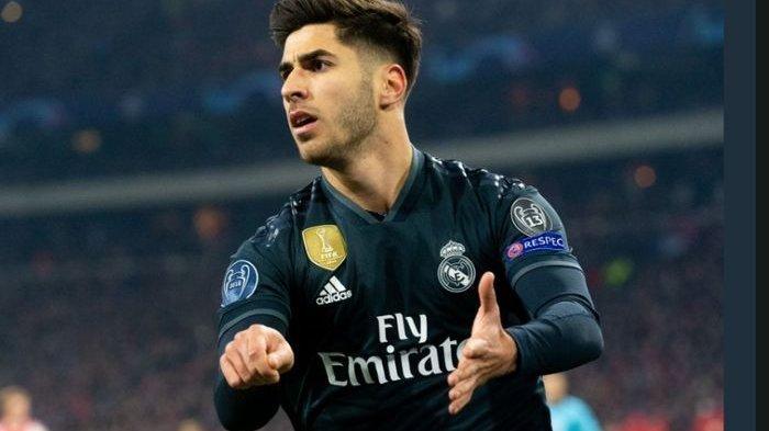Marco Asensio saat mencetak gol kemenangan untuk Real Madrid kontra Ajax Amsterdam pada laga pertama babak 16 besar Liga Champions, Rabu (13/2/2019)