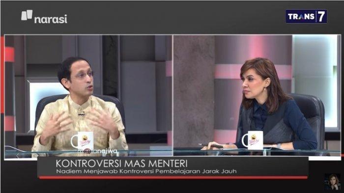 Di Tayangan Mata Najwa Menteri Nadiem Makarim Tegaskan Sulit Pulsa, Minta ke Sekolah