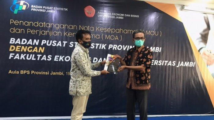 Bantu Pemerintah Daerah Wujudkan Pembangunan, BPS Provinsi Jambi dan FEB UNJA Teken MOU dan MOA