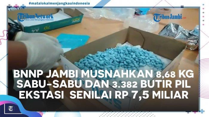 Musnahkan 8,68 Kg Sabu dan 3.382 Butir Ekstasi, BNNP Jambi Temukan 7 Kg Sabu Jenis Baru.