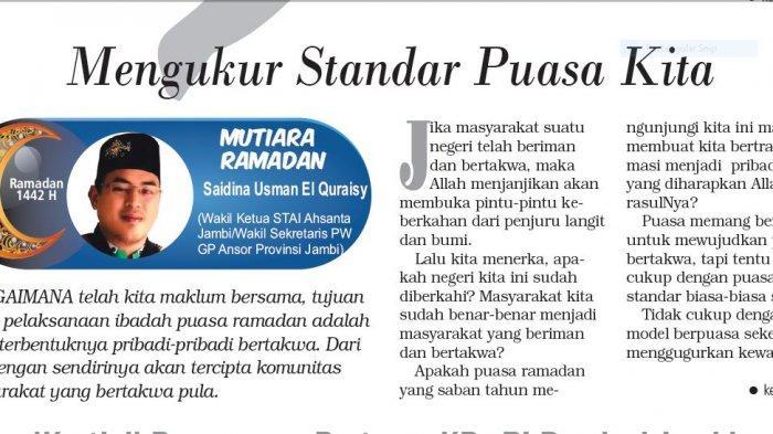 Mutiara Ramadan - Mengukur Standar Puasa Kita