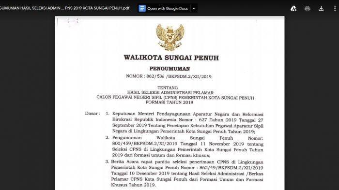 Pelamar CPNS yang Tidak Lulus Administrasi Silakan Menyanggah, Batas Waktu 18 Desember