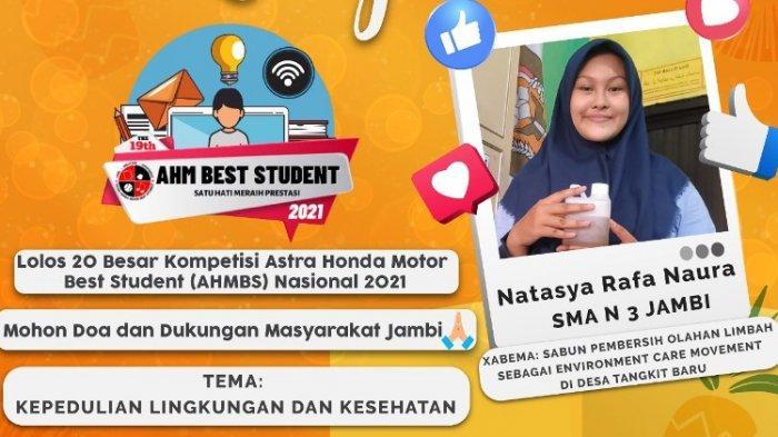Siswi SMAN 3 Kota Jambi Masuk 20 Besar di Kompetisi Astra Honda Motor Best Student Nasional 2021