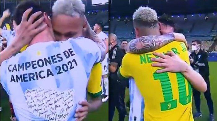 Detik-detik Messi Menangis Dipelukan Neymar Usai Menang Tragis, Argentina Juara Copa America 2021