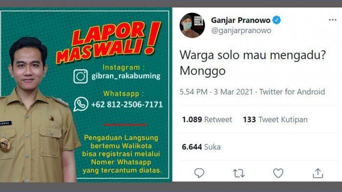 Wali Kota Solo Gibran Buka Nomor Pengaduan Langsung ke Nomor WhatsApp 081225067171, Lapor Mas Wali!