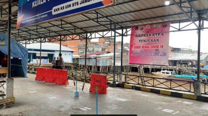 Hari Pertama Larangan Mudik, Pelabuhan LLASDP Kuala Tungkal Terpantau Sepi, Sejumlah Loket Tutup