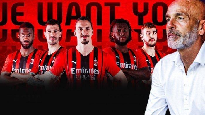 Pelatih AC Milan Stefano Pioli dan para pemain AC Milan