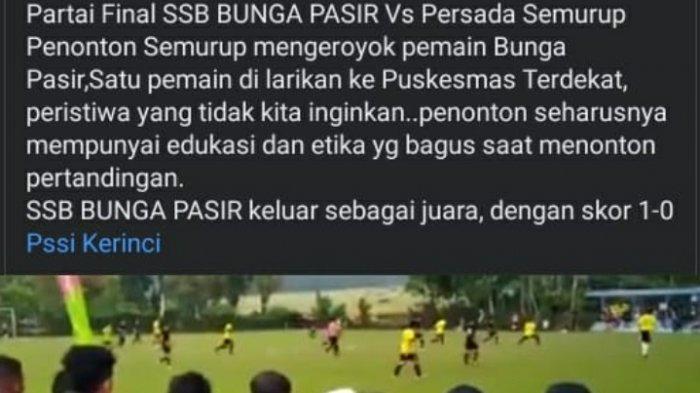 Satu Pemain Dilarikan ke RS, Netizen Sesalkan Aksi Pengeroyokan Pertandingan Bola yang Viral