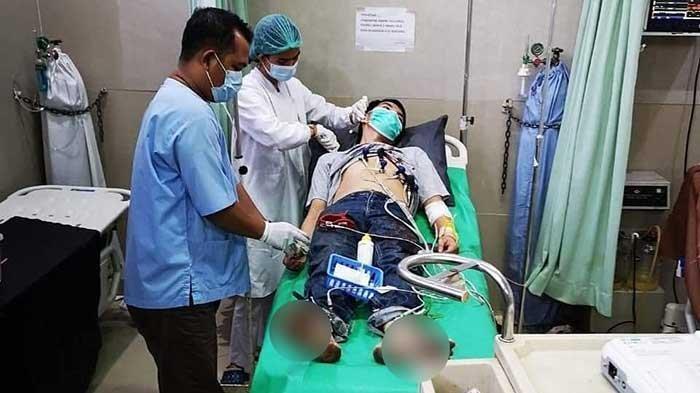 Korban pembacokan di Toko Akuarium Mayang Mangurai