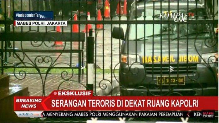 Penampakan lokasi terkini Mabes Polri usai terjadi serangan dari terduga teroris, Rabu (31/3/2021)