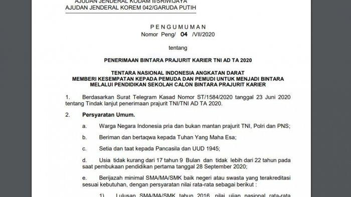 BUKA Penerimaan Bintara TNI AD TA 2020 untuk Lulusan SMA/MA/SMK, Batas 28 Agustus