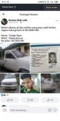 Status facebook di akun facebook bernama Rustam Shah Lallo