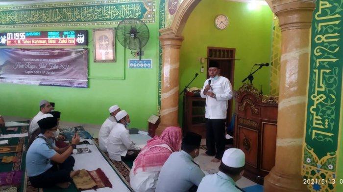Perayaan Hari Raya Idul Fitri 1442 H di Lembaga Pemasyarakatan (Lapas) Kelas IIA Jambi berlangsung khidmat, pada Kamis (13/5/2021).