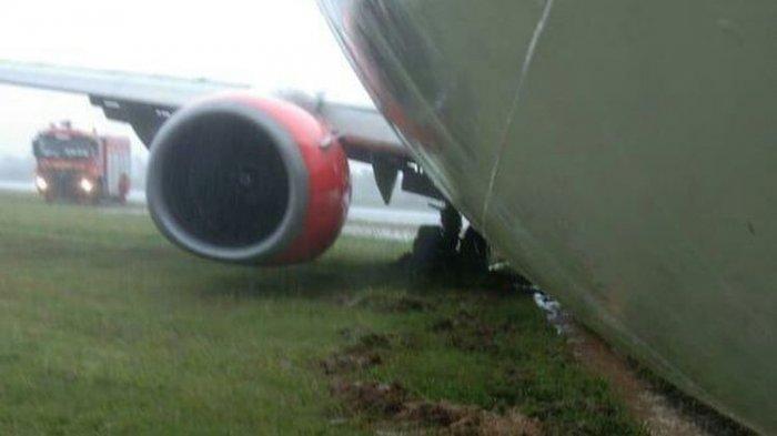 Detik-detik Pesawat Lion Air Berpenumpang 128 Orang Tergelincir di Radin Inten II Saat Hujan Deras