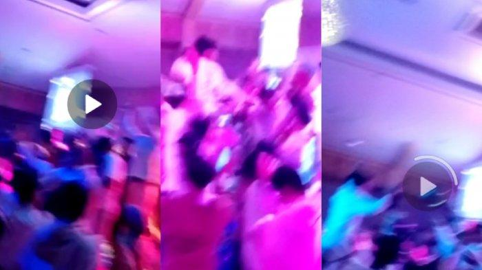 Siswa SMAN 1 Tanjabbar saat sedang party dan ketika polisi sudah datang (TRIBUNJAMBI/SAMSUL BAHRI/KOLASE)