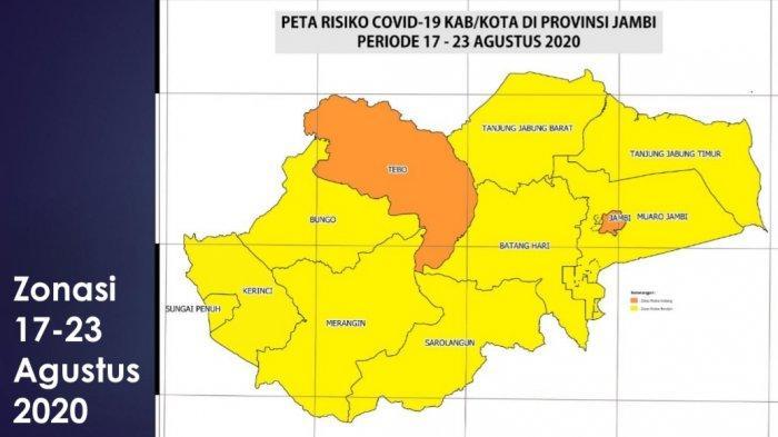Update Status Zona Covid-19 Provinsi Jambi Periode 17-23 Agustus, Kota Jambi dan Tebo Zona Orange