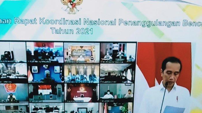Pj Gubernur Jambi Dr Hari Nur Cahaya Murni mengikuti  secara virtual Rakornas Penanggulangan Bencana Tahun 2021, Rabu (3/3/2021) siang bersama Forkompinda Provinsi Jambi, dan dinas terkait di auditorium rumah dinas yang dibuka Presiden Joko Widodo.