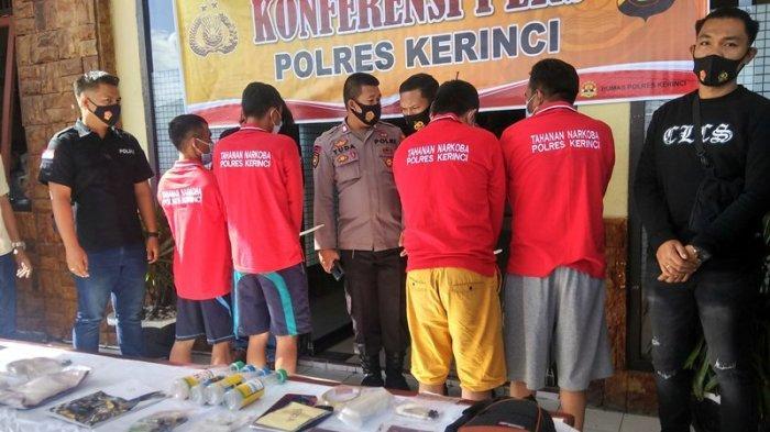 Empat Pengedar Narkoba Jaringan Antar Provinsi Diamankan, Polres Kerinci Gelar Press Rilis