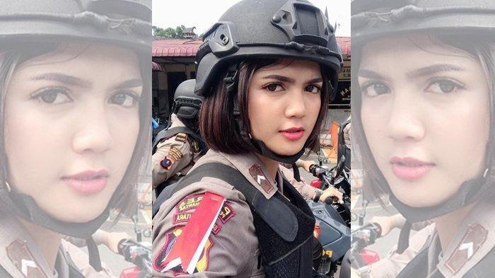 Foto-foto Polwan Cantik Bripda Vani Simbolon, Siaga Jaga TPS Mengamankan Kelancaran Pemilu 2019