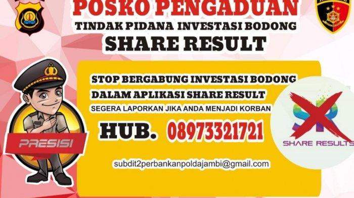 Antisipasi Korban Baru, Polda Jambi Dirikan Posko Pengaduan Korban Investasi Bodong Share Results