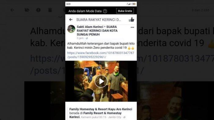 Bupati Adirozal Persilakan Pengunjung Datang ke Kerinci, Sebut Tidak Ada Pasien Positif Covid-19