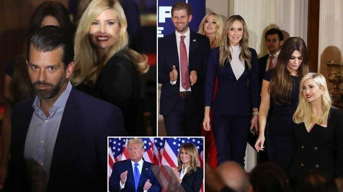 Presiden Donald Trump didampingi oleh keluarganya pada Rabu dini hari ketika dia membuat pidato kemenangan, di mana dia menyatakan pemilihan adalah 'penipuan terhadap rakyat Amerika'.