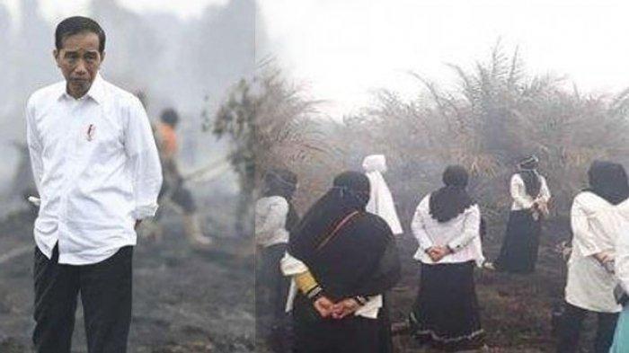 Aksi Emak-emak Berbaju Putih Pose di Lokasi Karhutla, Sindir Jokowi saat ke Lahan Kebakaran di Riau?
