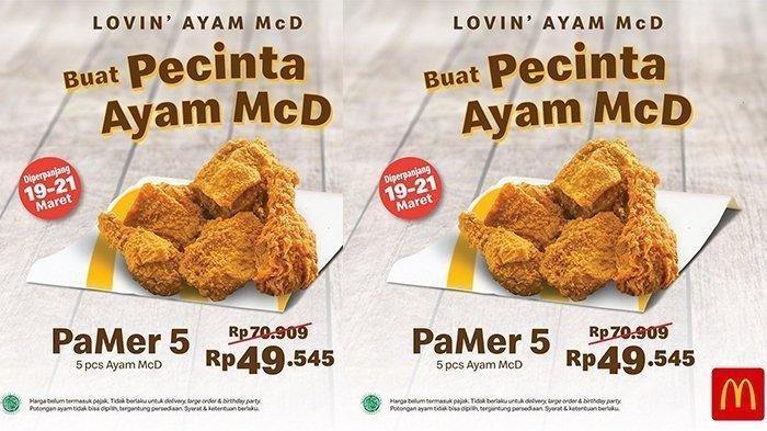 Promo McDonalds Beli 5 Potong Ayam Hanya Rp 49.545, Buruan Promo Hanya Sampai 21 Maret 2020