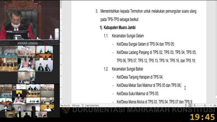 Cuplikan putusan MK atas Pilgub Jambi, kabulkan permohonan pemungutan suara ulang di 88 TPS