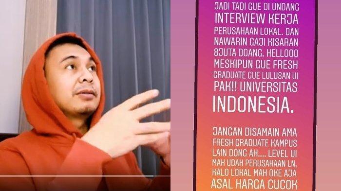 Raditya Dika yang Juga Lulusan UI Angkat Bicara, Soal Pernyataan Tolak Gaji Rp 8 Juta saat Interview