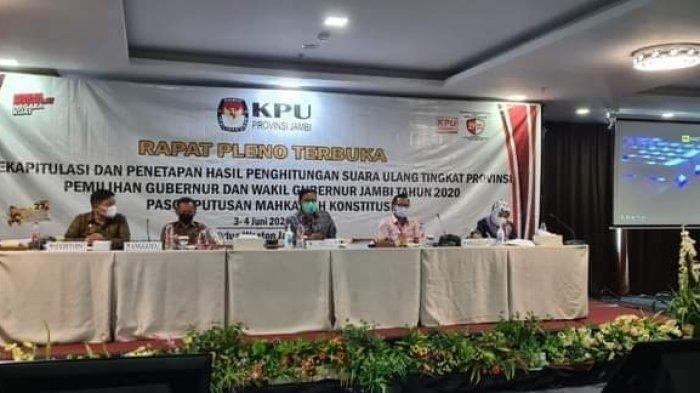Minggu Depan KPU Jambi Rencanakan Penetapan Gubernur dan Wakil Gubernur Jambi Terpilih