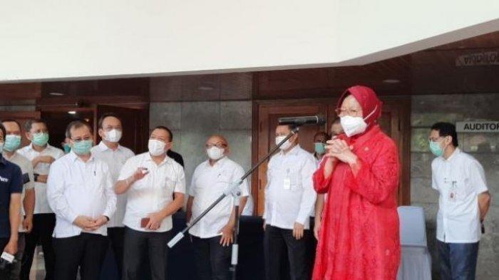 Risma saat sertijab di Gedung Aneka Bhakti, Kemensos, Jln Salemba, Jakarta Pusat, Rabu (23/12/2020).