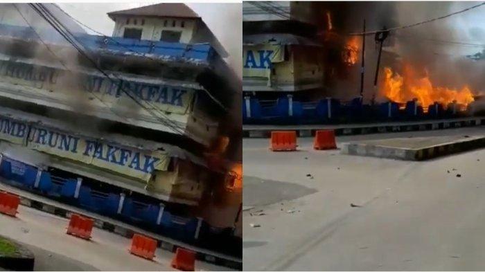VIDEO Kerusuhan di FAKFAK Beredar, Kobaran Api Hanguskan Sebuah Pasar