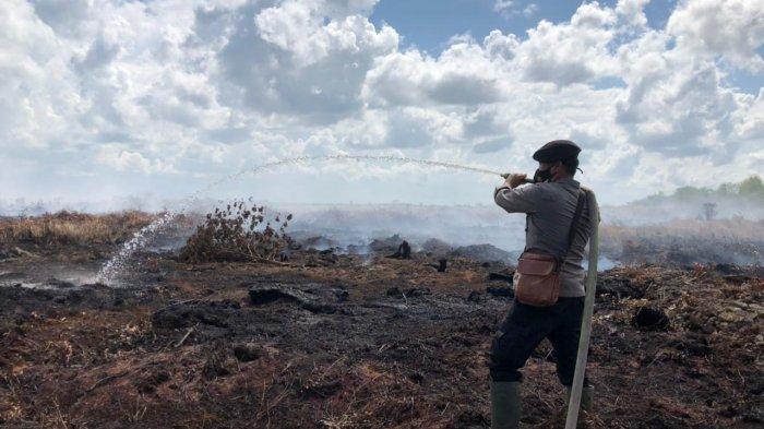 Sat Brimob Polda Jambi bersama rombongan masyarakat setempat melakukan pemadaman dan pendinginan lahan terbakar di Desa Sungai Sayang Parit 7 Kecamatan Sadu Tanjabtim, Sabtu (6/3/2021) kemarin.