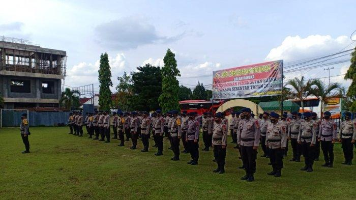 Satu Kompi Personil Brimob Polda Aceh Diterjunkan Bantu Pengamanan Pilkada Bungo