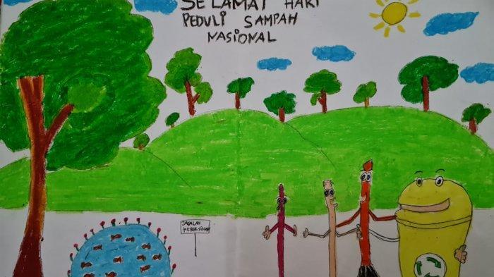Peringati Hari Sampah Nasional, Siswa SDN 131 Kota Jambi Membuat Poster Secara Virtual
