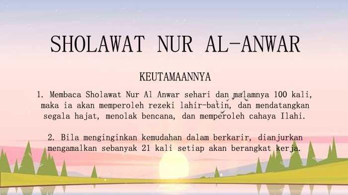 Cara Mengamalkan Sholawat Nur Al-Anwar Manfaatnya Mendatangkan Rezeki dan Tolak Bala