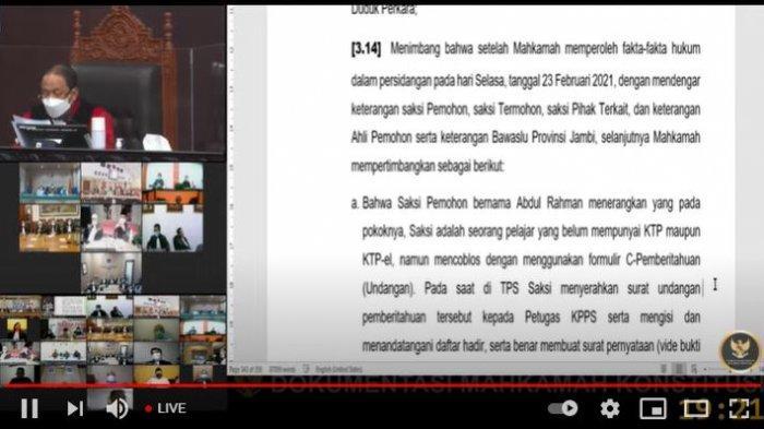 SEDANG BERLANGSUNG LIVE Sidang MK Pilgub Jambi, Sedang Dibacakan