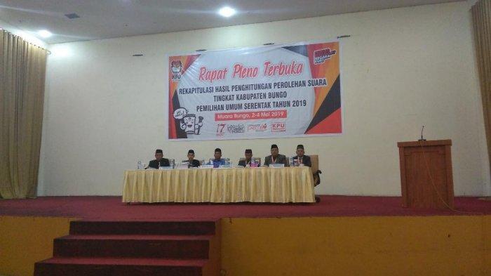 Sidang Pleno, KPU Bungo Targetkan 3 Hari Selesai Rekapitulasi