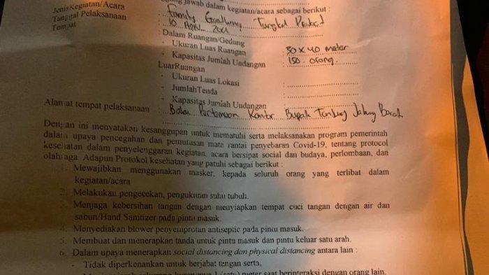 Ini Foto Surat-Surat Terkait Acara Great Party di Kantor Bupati, EO Disebut Manipulasi Acara