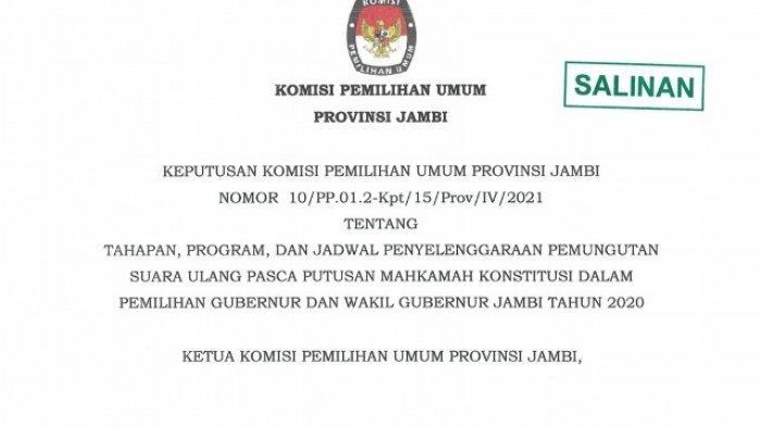 PSU Pilgub Jambi akan Dilangsungkan 27 Mei, KPU Provinsi Jambi Keluarkan Surat Keputusan